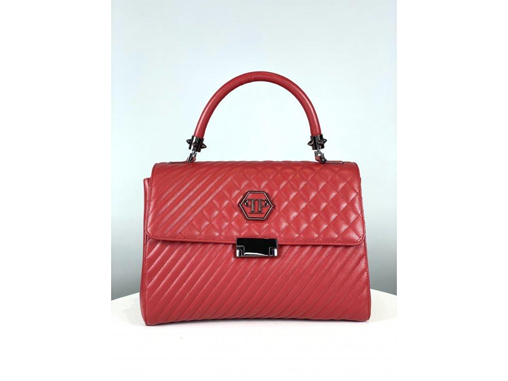 Červená, kožená kabelka Philipp Plein se znakem vepředu