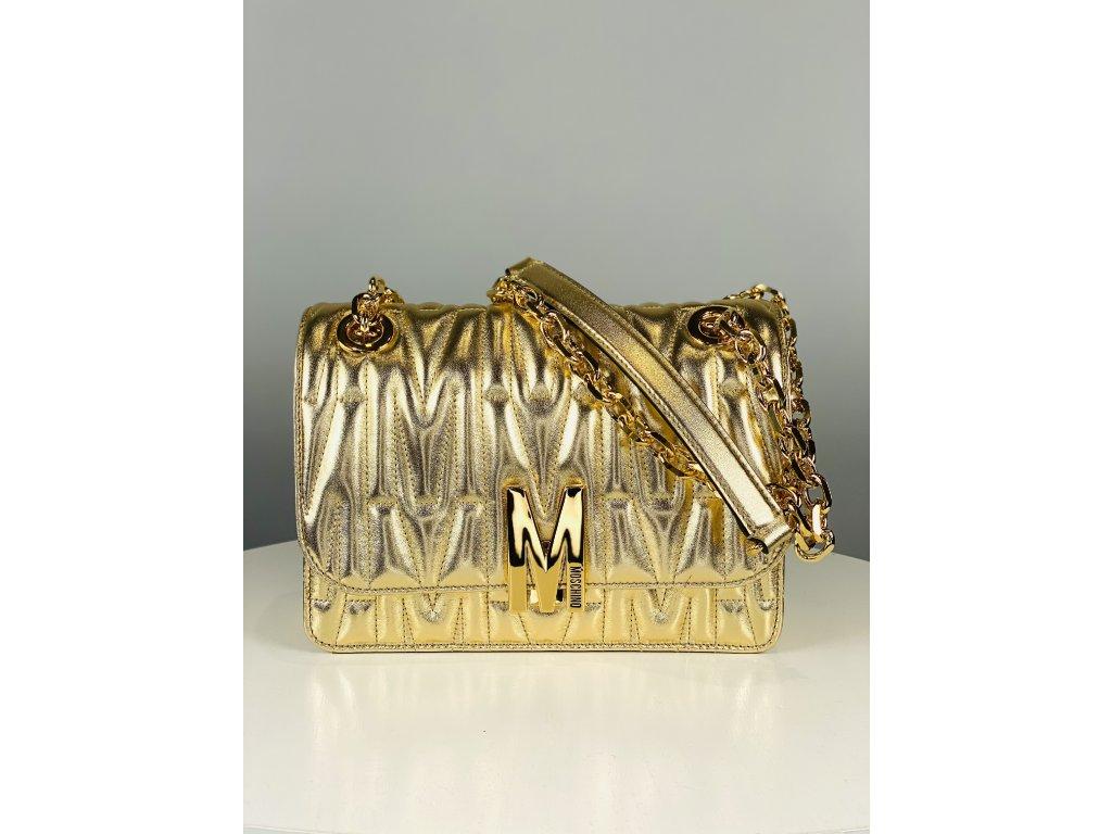 Zlatá, kožená kabelka Moschino Couture se zlatým řetízkem přes rameno