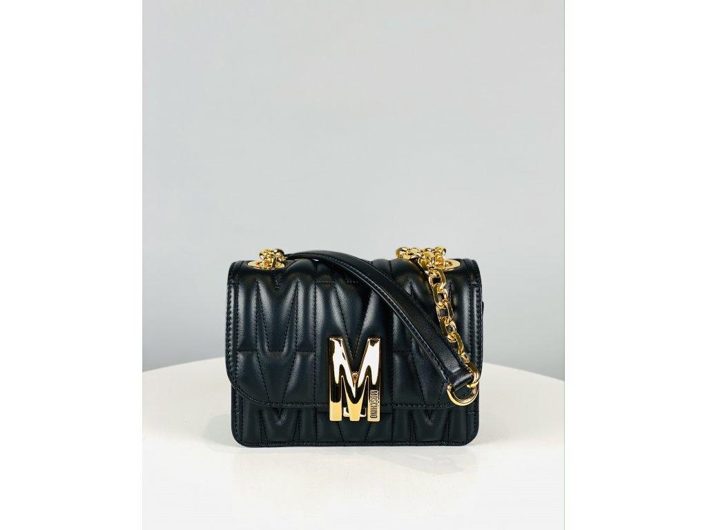 Černá, kožená kabelka Moschino Couture se zlatým řetízkem přes rameno