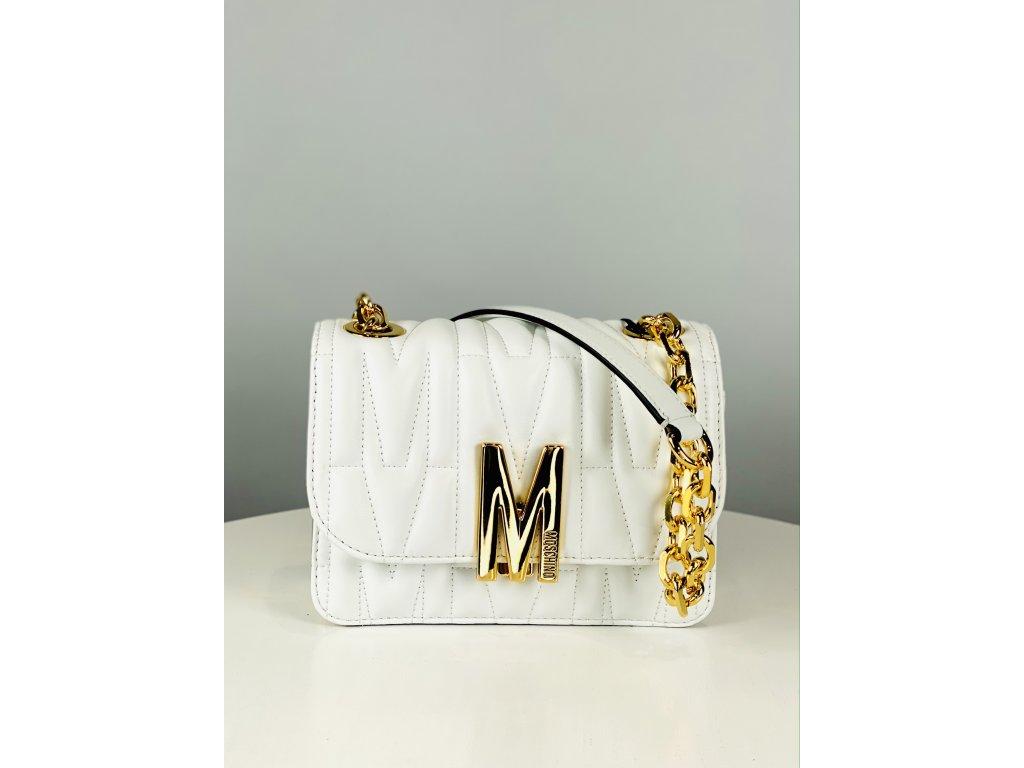 Malá, bílá, kožená kabelka Moschino Couture se zlatým řetízkem přes rameno