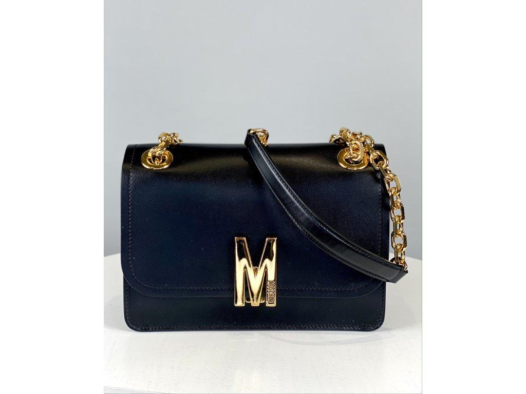 Černá, kožená kabelka Moschino Couture se zlatým řetízkem