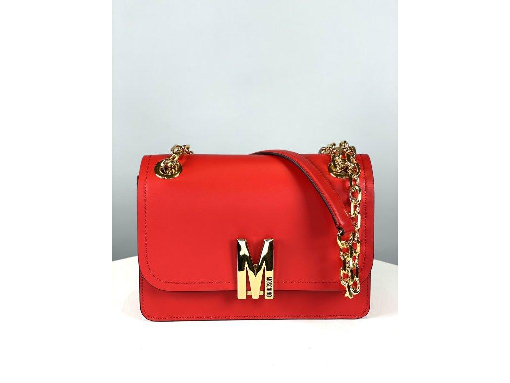 Červená, kožená kabelka Moschino Couture se zlatým řetízkem