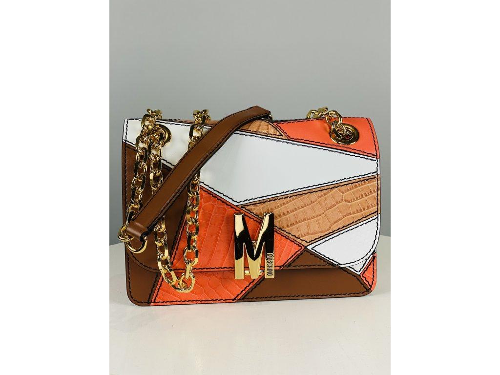Oranžovo hnědá, kožená kabelka Moschino Couture přes rameno se zlatým řetízkem