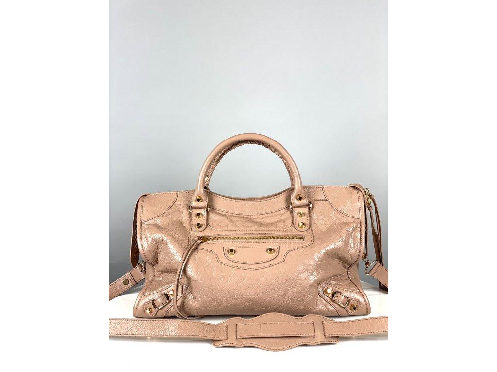 Béžová, kožená kabelka Balenciaga s delším popruhem se zrcátkem
