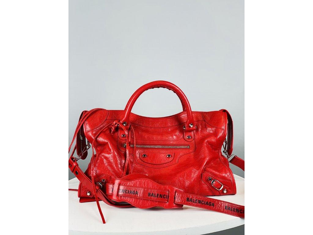 Červená, kožená kabelka Balenciaga s delším popruhem se zrcátkem