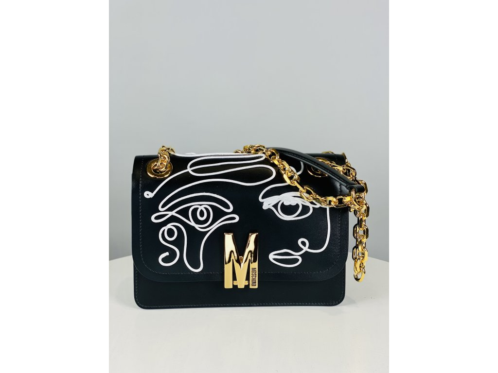 Černá, kožená kabelka Moschino Couture (s bílým prošíváným vzorem) přes rameno se zlatým řetízkem