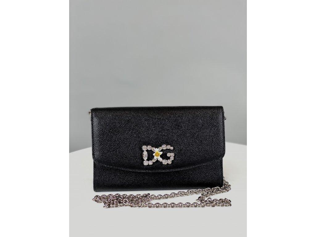 Černé psaníčko Dolce Gabbana do ruky, DG z kamínků vepředu