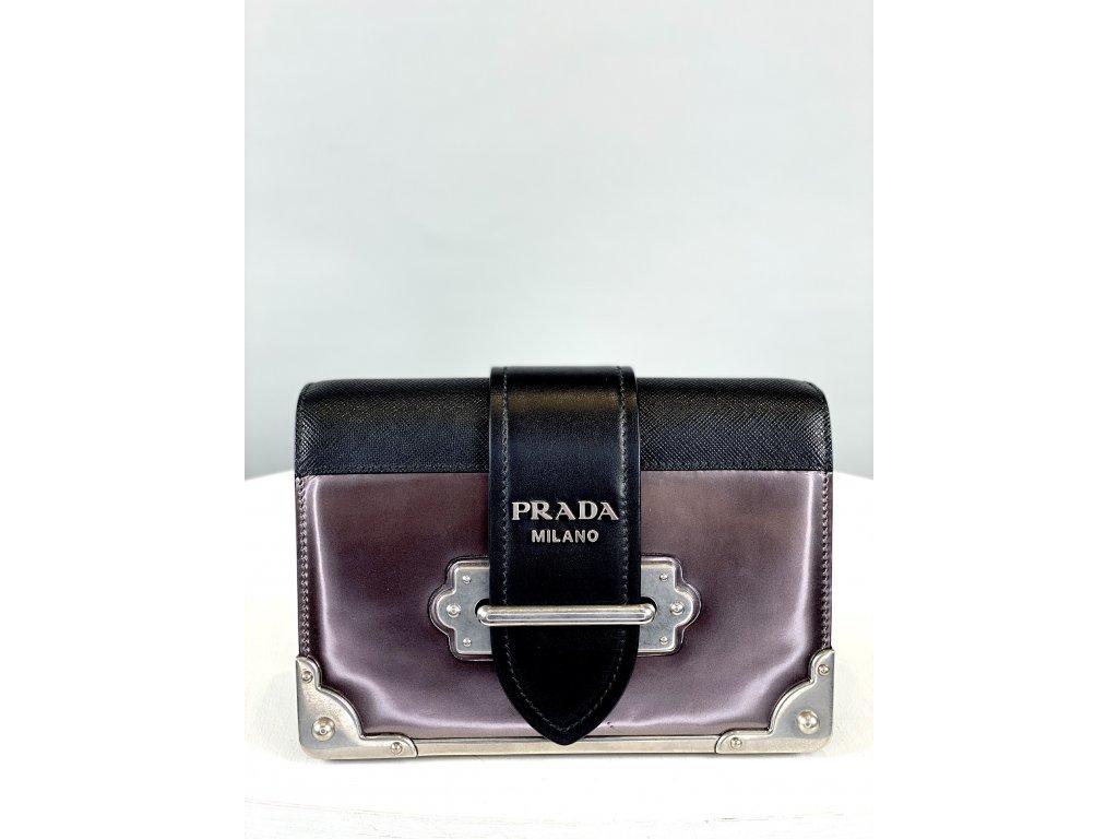 Černo-šedofialová, malá, kožená kabelka Prada přes rameno