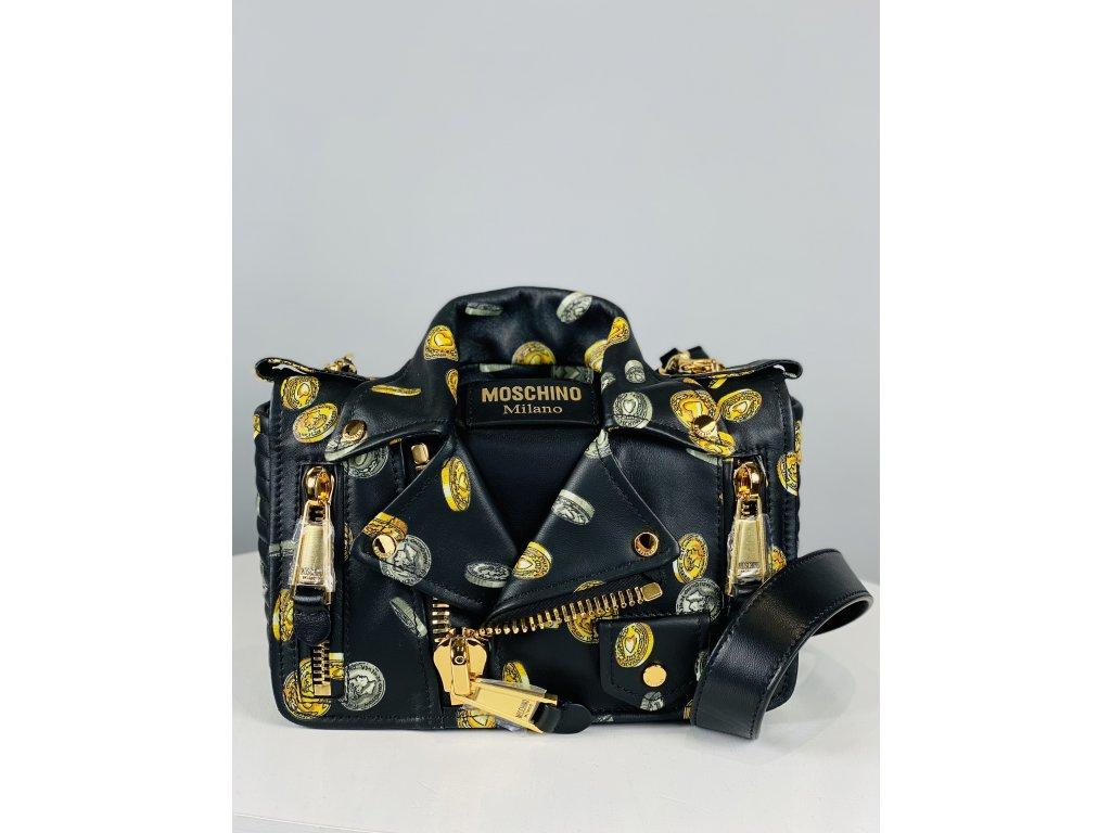 Černo-zlatá, extravagantní, kožená kabelka Moschino Couture ve stylu košile (přes rameno)