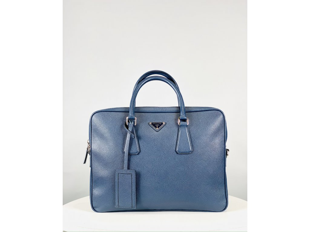 Tmavě modrá, pánská pracovní taška Prada na notebook