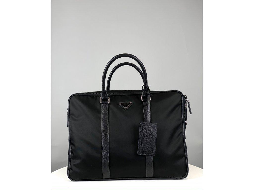 Černá pánská pracovní taška Prada (dva zipy, dvě přihrádky)