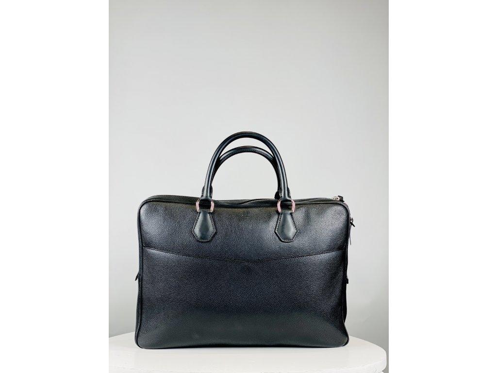 Větší, černá kožená pánská pracovní taška Dunhill se zipem (přihrádkou) zezadu, (Dunhill znak uprostřed nahoře)