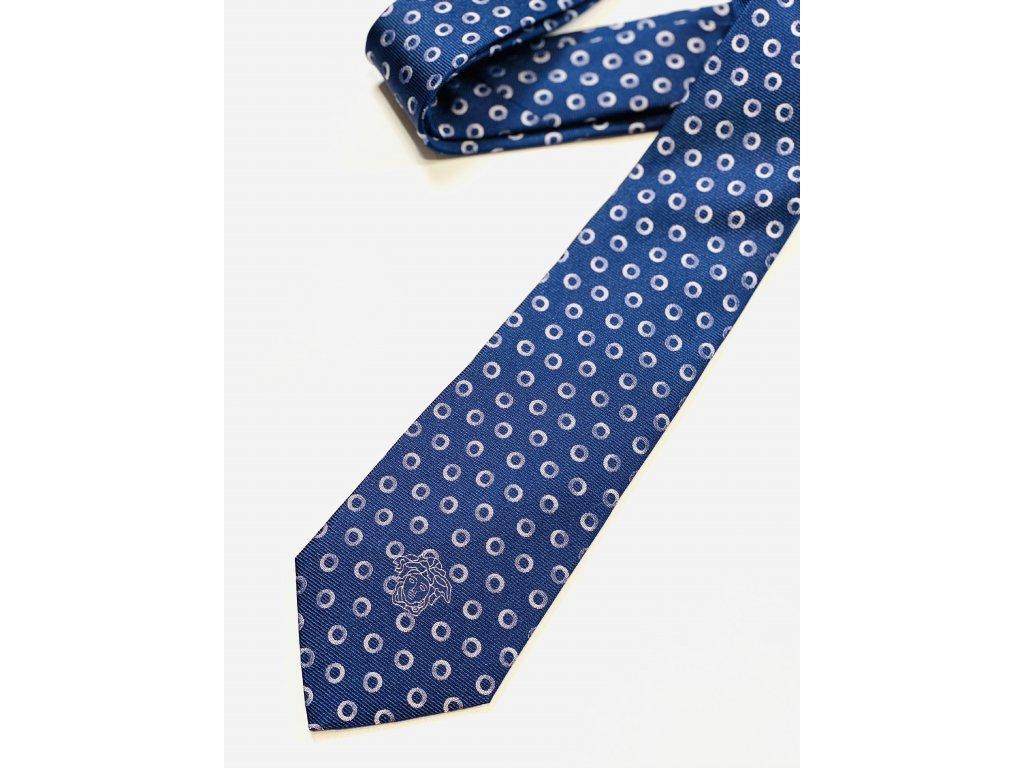 Modrá kravata Versace s puntíky