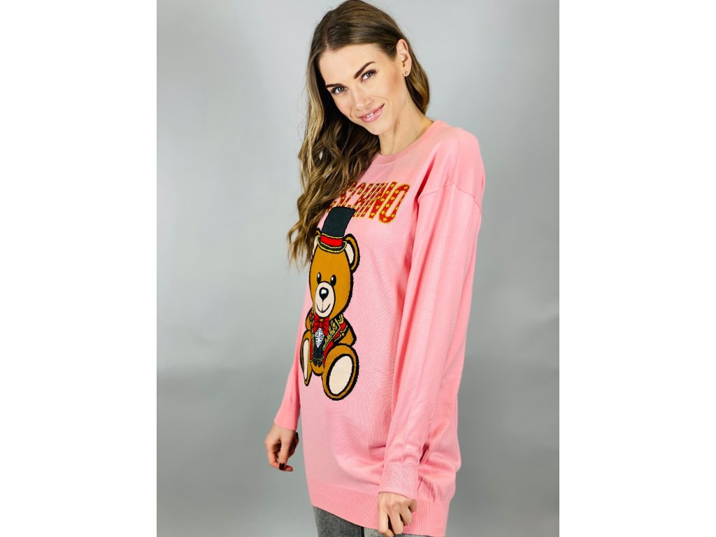 Růžový oversize dlouhý svetr MOSCHINO Couture
