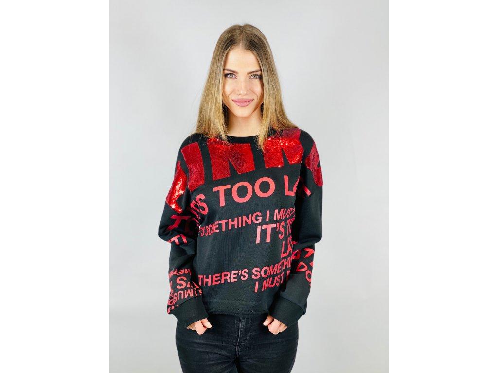 Mikina černo-červená PINKO