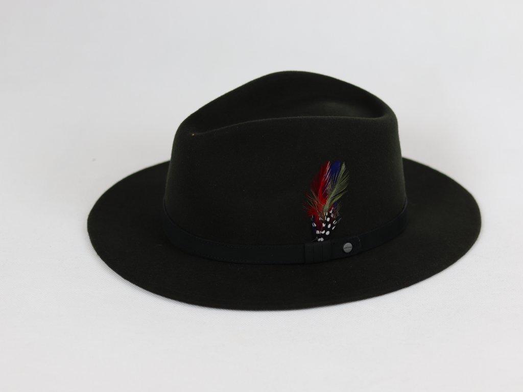 Stetson Vitafelt Travel tmavě zelený klobouk s koženým páskem