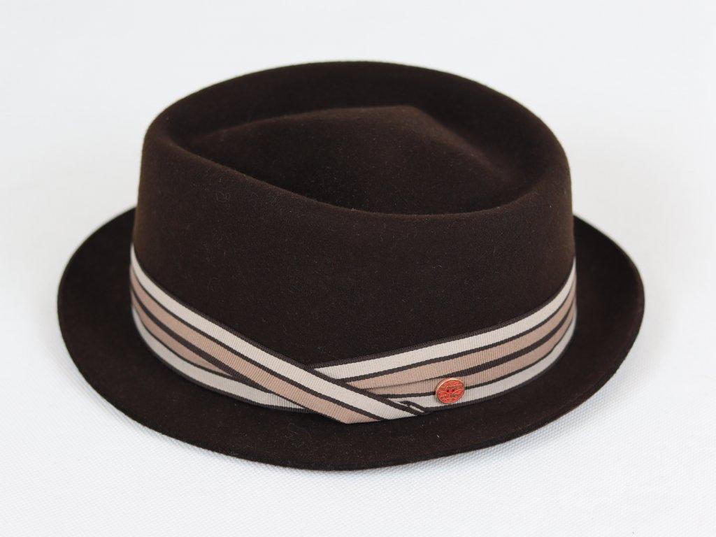 Mayser Diamond tmavě hnědý klobouk se barevnou stuhou
