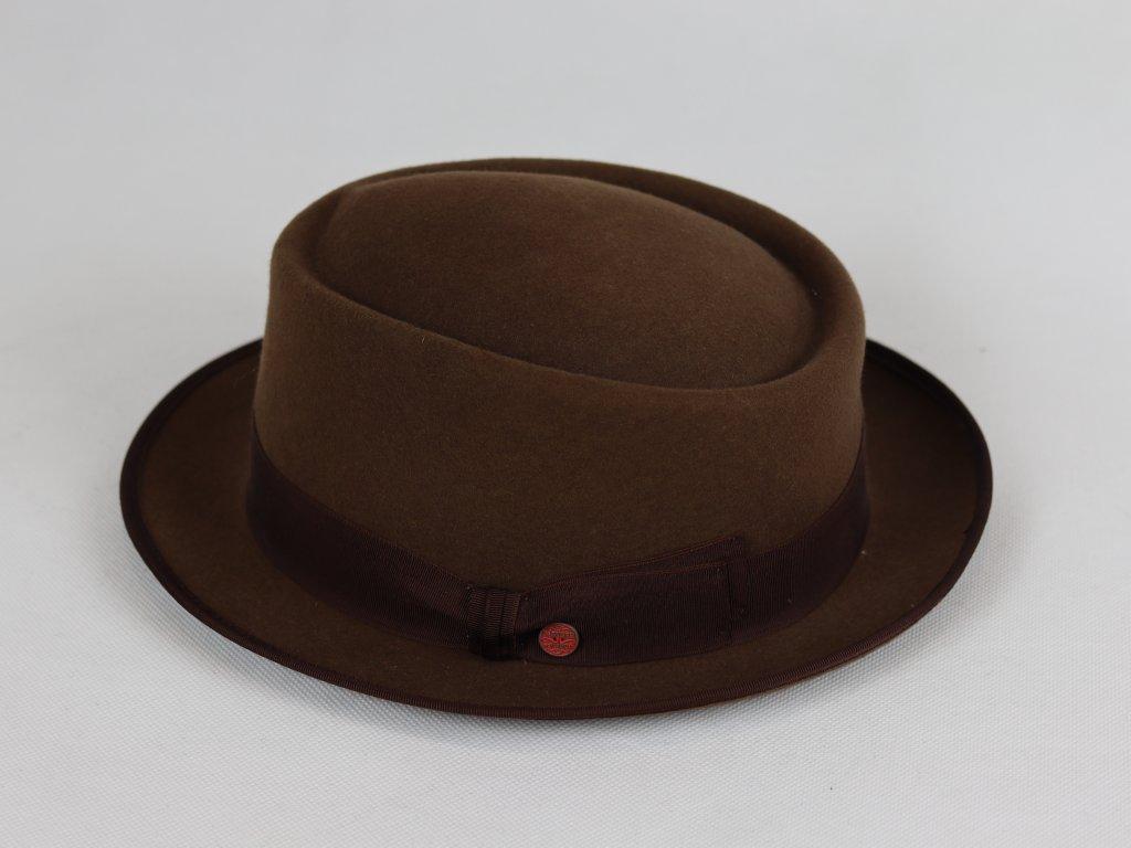 Mayser Lorenzo Trilby Rondo hnědý klobouk s tmavě hnědou stouhou
