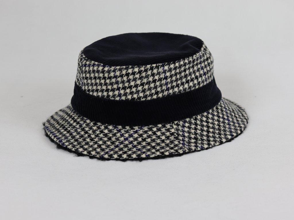 Alfonso D'Este Bucket Hat unisex černo-bílo-modro-šedivý klobouk