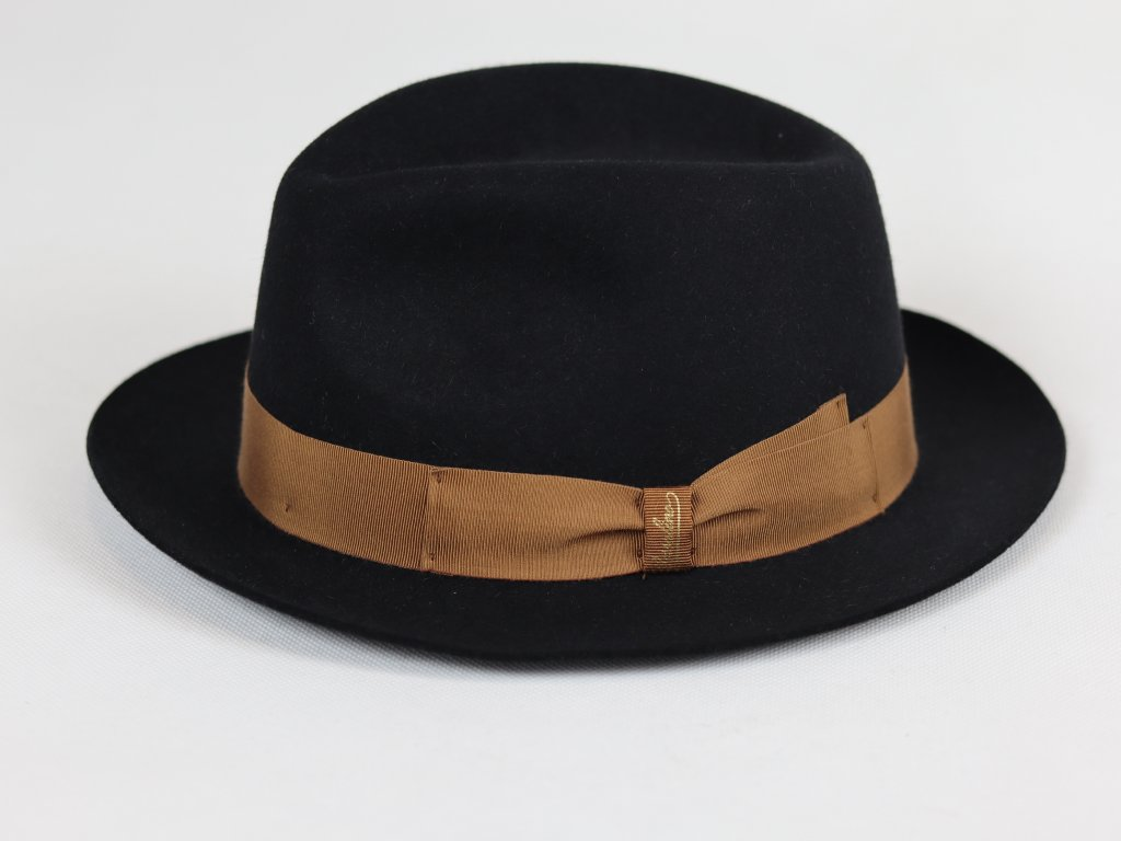 Borsalino Alessandria Mini Fedora unisex černý klobouk s bronzovou stuha