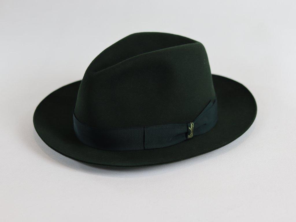 Borsalino Alessandria Fedora Tesa Media lahvově zelený klobouk
