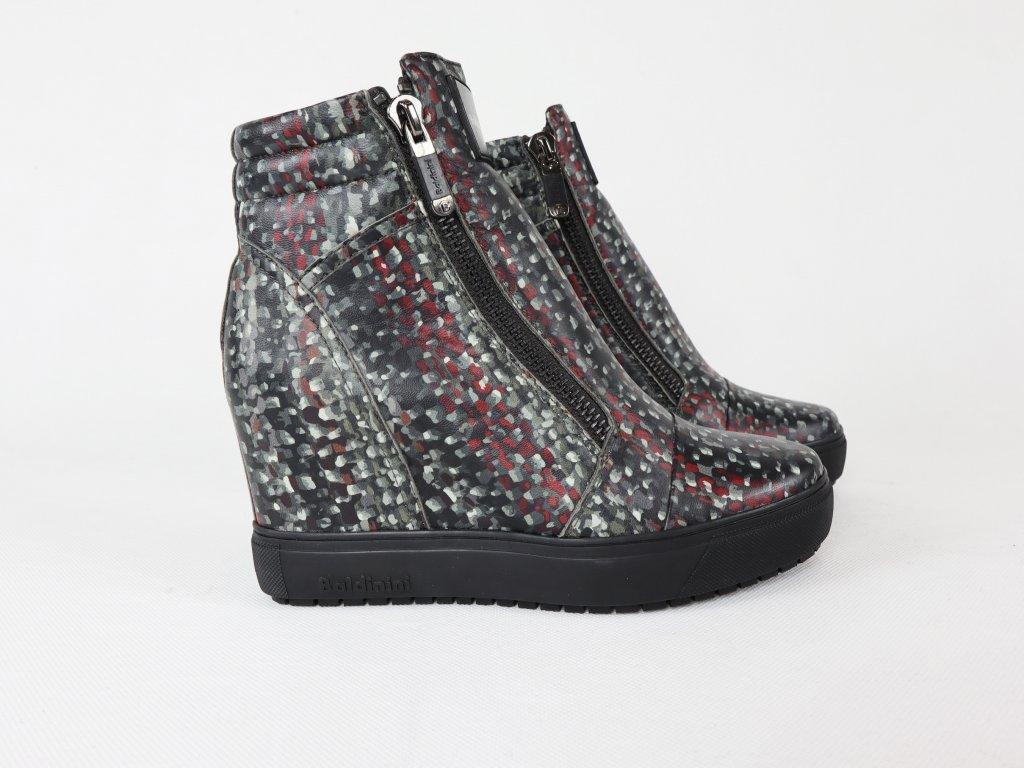 Dámské šedé kotníkové boty na klínu