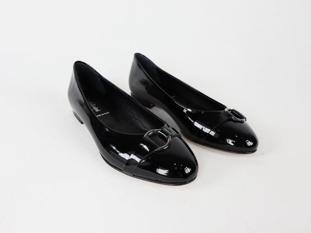 Dámské černé baleríny (lakovaná kůže a kožená podrážka)
