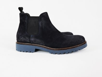 """Pánské modré boty """"perka"""", broušená kůže s patinou"""