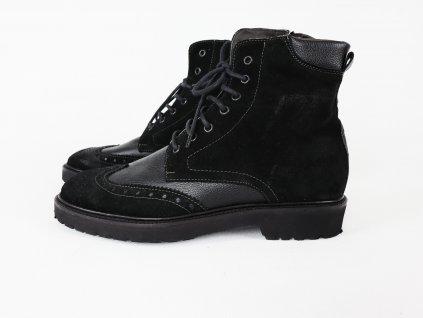 Pánské kotníkové boty v kombinaci hladká/broušená kůže