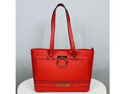 Velká červená, kabelka Love Moschino se zlatou klipsou