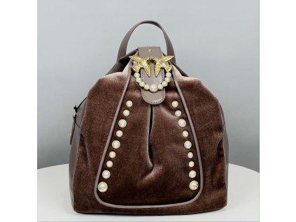 Hnědý batoh PINKO s perličkami
