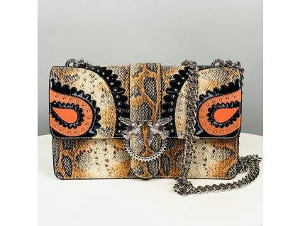 Kožená kabelka PINKO se vzorem hadí kůže
