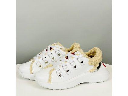 Bílé boty Love Moschino s kožešinkou
