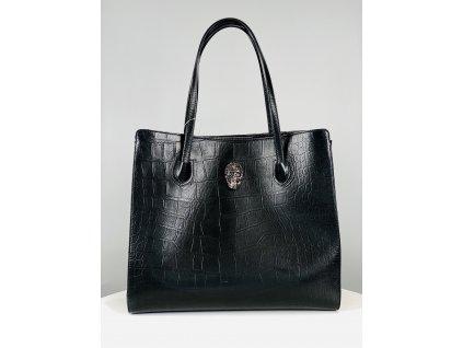 Černá, croco, matná, kožená kabelka Philipp Plein