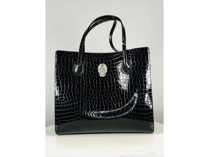 Černá, croco, lesklá, kožená kabelka Philipp Plein se stříbrnou perličkovou lebkou