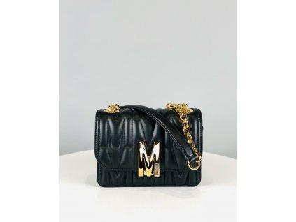 Malá, černá, kožená kabelka Moschino Couture se zlatým řetízkem přes rameno