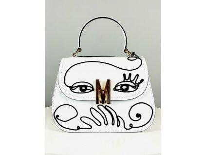 Bílá kabelka Moschino Couture (s černým prošívaným vzorem) se zlatým M vepředu do ruky