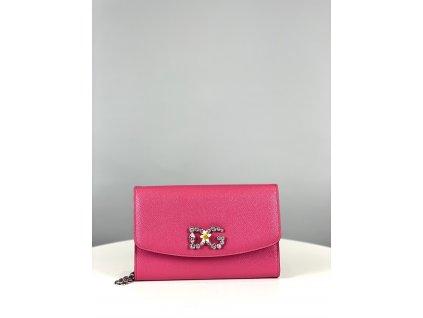 Růžové psaníčko Dolce Gabbana do ruky, DG z kamínků vepředu