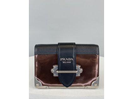 Černo-bronzová, malá, kožená kabelka Prada přes rameno