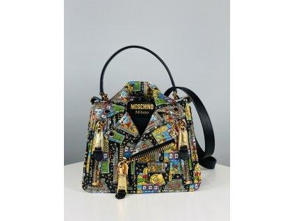 Barevná, extravagantní, kožená kabelka Moschino Couture ve stylu košile (přes rameno)