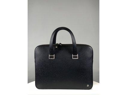 Černá, kožená, pánská pracovní taška na notebook (znak dunhill naboku dole zepředu)