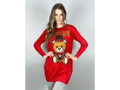 Červený oversize dlouhý svetr MOSCHINO Couture
