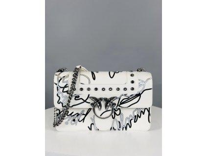 Bílá kožená kabelka PINKO s černobílým popisem