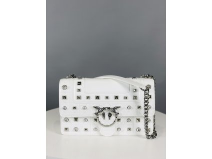 Bílá PINKO kabelka se cvočky a perličkami