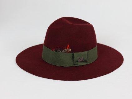 Stetson Plum dámský bordo klobouk s barevnou stuhou