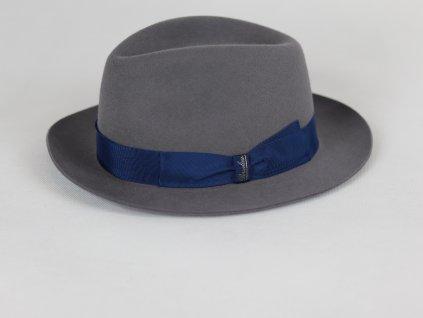 Borsalino Alessandria Mini Fedora unisex šedivý klobouk s modrou stuhou