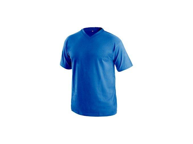 Tričko s krátkým rukávem DALTON, výstřih do V, středně modrá