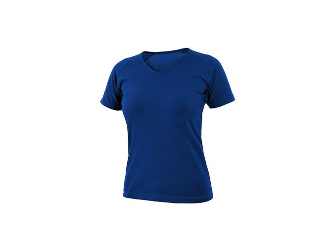 Tričko CXS ELLA, dámské, výstřih do V, krátký rukáv, středně modrá
