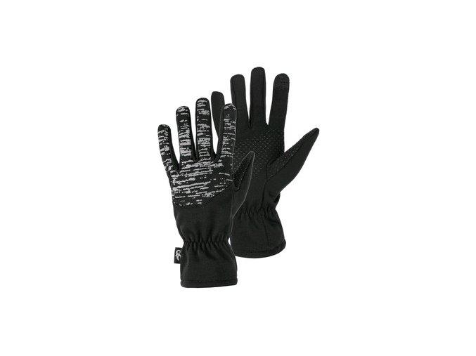 Rukavice zimní FREY, černé s reflexním potiskem