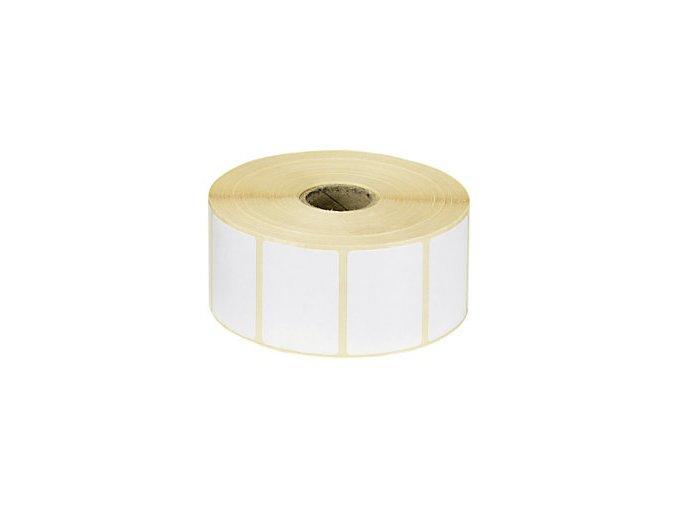 Samolepící etiketa bílá na roli 70x30 mm, dutinka 25mm, papír, bez tisku, návin do 110mm Aldivex